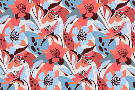 Vector floral seamless pattern. Flower background. Pink, blue flowers, buds, leaves isolated on light gray background.