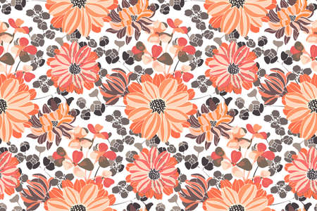 Vector floral pattern. Pink and orange garden flowers isolated on white background. Beautiful chrysanthemums for fabric, wallpaper design, kitchen textile, banners, cards. 矢量图像