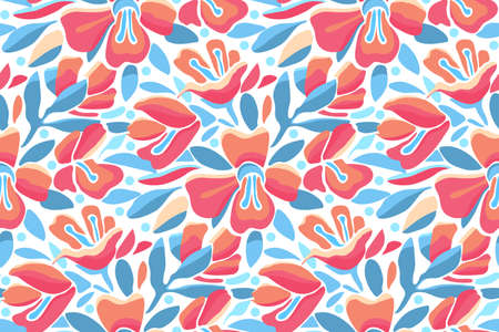 Vector floral seamless pattern. Pink and orange flowers, blue leaves isolated on white background. Flower background for fabric, wallpaper design, kitchen textile, banners, cards.