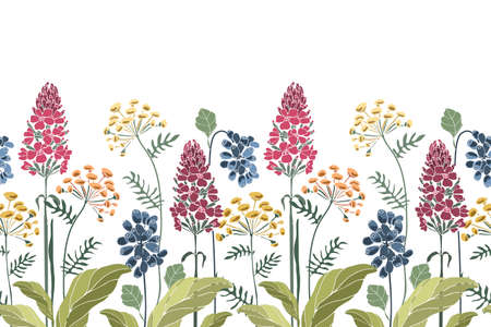 Vector floral seamless border, pattern. Spring, summer flowers, green leaves. Yellow, maroon flowers, blue berries. For decorative design of any surfaces.