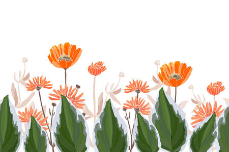 Vector floral seamless border, pattern. Spring, summer flowers, green leaves. Orange calendula, marigold, gaillardia flowers, green plantain lily, hosta. For decorative design of any surfaces. 矢量图像