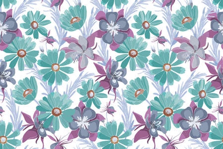 Vector floral seamless pattern. Turquoise and purple flowers, blue leaves isolated on white background. Gaillardia, Aquilegia Columbine flowers for fabric, wallpaper, kitchen textile, banners, cards. 矢量图像