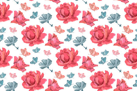 Vector floral seamless pattern. Flowers background with pink roses, blue garden flowers and butterflies on white. 矢量图像