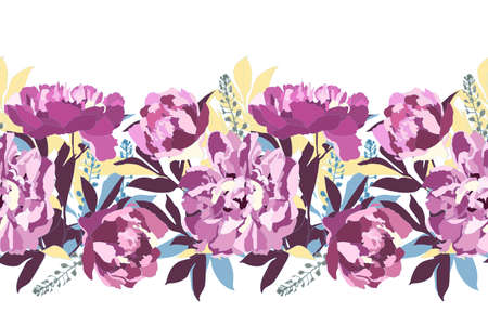 Vector floral seamless pattern, border. Purple peonies, blue, yellow, maroon branches and leaves isolated on white background.