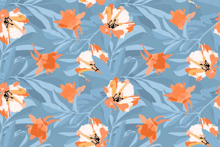 Vector floral seamless pattern. Orange, white flowers, blue leaves isolated on a blue background. For decorative design of any surfaces.