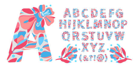 Vector floral alphabet from A to Z. Letters with flowers. Capital characters. Botanical monogram. Pink, blue color flowers, buds, twigs, leaves in the shape of a bold letter.