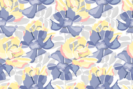 Vector floral seamless pattern. Pastel flower background. Yellow, blue flowers, gray leaves isolated on white background. For fabric, wallpaper, kitchen textile, banners, cards, wrapping paper.