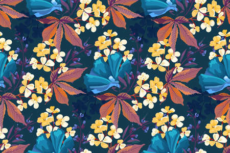 Vector floral seamless pattern. Yellow, blue flowers isolated on a deep blue background. For decorative design of any surfaces.