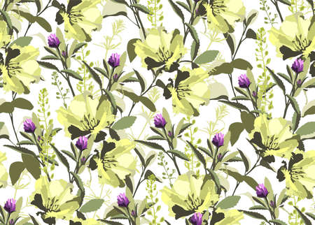 Vector floral seamless pattern. Yellow flowers, green leaves isolated on a white background. For decorative design of any surfaces.