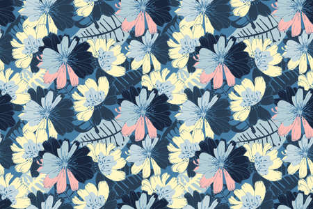 Vector floral seamless pattern. Yellow, blue, pink flowers isolated on a deep blue background. For decorative design of any surfaces.