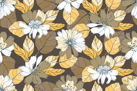 Vector floral seamless pattern. Yellow, white, brown flowers isolated on a coffee color background. Summer, autumn background for decorative design of any surfaces. Illustration