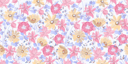 Vector floral seamless pattern. Pastel flowers and leaves. Pink, blue, yellow floral elements isolated on a white background. For decorative design of any surfaces. Illustration