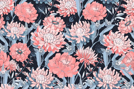 Vector floral seamless pattern. Pink asters, chrysanthemums, zinnias, blue stems and leaves. Autumn flowers isolated on a dark blue background.