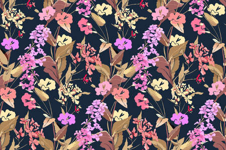 Floral pattern. Vector seamless background with wild flowers and herbs. Pink, yellow, purple flowers with stems and leaves isolated on a dark blue background. 矢量图像