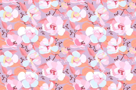 Vector floral seamless pattern. Pink and white garden flowers with orange leaves isolated on a light orange background. Beautiful chinese rose for fabric, wallpaper, kitchen textile, banners, cards. 免版税图像 - 160801086