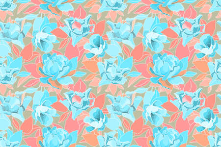 Vector floral pattern. Seamless flower background. Blue roses, pink, orange and blue leaves isolated on a beige background.
