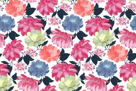 Vector floral seamless pattern. Pink, blue, yellow, coral color flowers, blue leaves isolated on a white background.