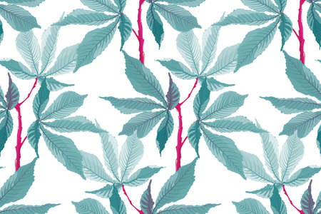 Vector seamless pattern. Tropical floral background. Turquoise leaves on red stems isolated on a white background.