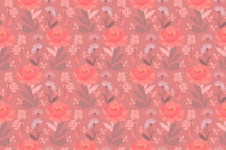 Vector floral seamless pattern. Pink, coral color, coffee color flowers and leaves. For wallpaper design, kitchen textile, fabric.