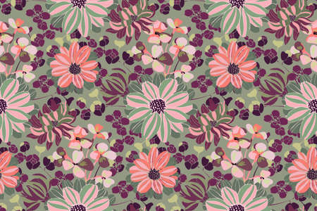 Vector floral pattern. Pink, purple, green garden flowers, branches and leaves isolated on olive background. Beautiful chrysanthemums for fabric, wallpaper design, kitchen textile, banners, cards.