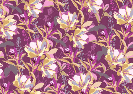 Vector floral seamless pattern. Pink, gray, white, light yellow, purple flowers and leaves isolated on a purple background. For decorative design of any surfaces. Illustration