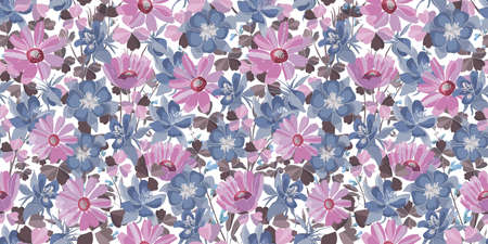 Vector floral seamless pattern. Pastel flowers and leaves. Pink, blue, purple floral elements isolated on a white background. For decorative design of any surfaces.
