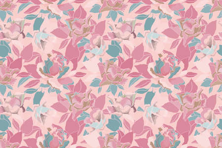 Vector floral pastel seamless pattern. Pink, turquoise roses and leaves isolated on a pale pink background. For decorative design of any surfaces.