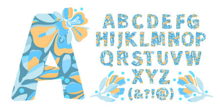 Vector floral alphabet from A to Z. Letters with flowers. Capital characters. Botanical monogram. Yellow, blue color flowers, buds, twigs, leaves in the shape of a bold letter. 矢量图像