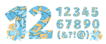 Vector flower numbers from 0 to 9. Botanical character, figure. Yellow, blue color flowers in the shape of a bold number. Garden flowers with branches and leaves.