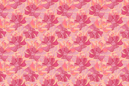 Vector floral seamless pattern. Pink, maroon flowers, leaves isolated on yellow background. For fabric, wallpaper, kitchen textile, banners, cards, wrapping paper. 矢量图像