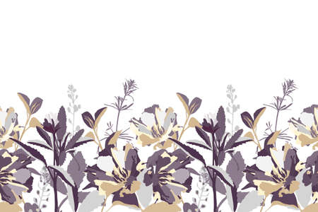 Vector floral seamless border. Flower background. Seamless pattern with white, beige, gray, violet flowers and leaves. Floral elements isolated on white background.