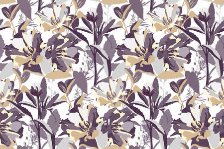 Vector floral seamless pattern. Beige, gray, purple flowers and leaves isolated on a white background.