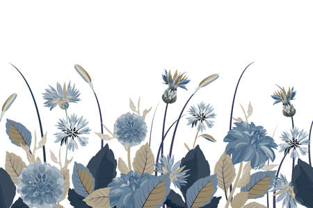 Vector floral seamless border. Flower background. Seamless pattern with blue cornflowers, dahlias, thistles flowers, blue, brown leaves. Floral elements isolated on white background.