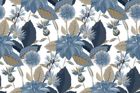 Vector floral seamless pattern. Flower background. Seamless pattern with blue cornflowers, dahlias, thistles flowers, blue, brown leaves. Floral elements isolated on white background. 矢量图像
