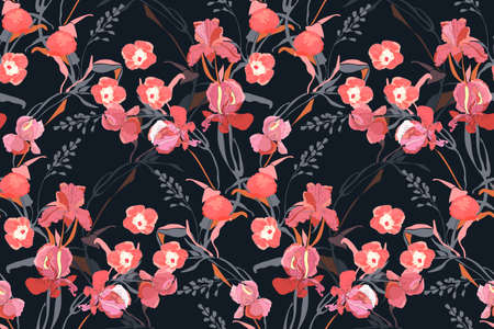 Floral vector seamless pattern. Pink ipomoea, peony, iris flowers, gray branches, leaves isolated on a black background. Tile pattern.