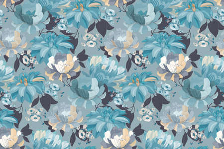 Art floral vector seamless pattern. Blue asters, dahlias, chrysanthemums, hydrangea with branches, leaves isolated on light blue background. Endless flowers background for wallpaper, fabric, textile.