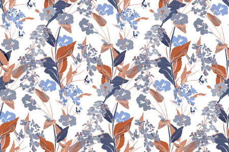 Art floral vector seamless pattern. Gentle meadow pale lilac, gray flowers with blue and brown twigs and leaves isolated on a white background. Watercolor style. Endless pattern.