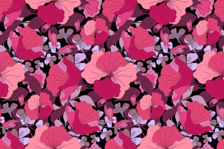 Vector floral seamless pattern. Floral bouquet. Pink, purple, violet, maroon vector flowers, buds, leaves. Floral illustration on a black background. 矢量图像