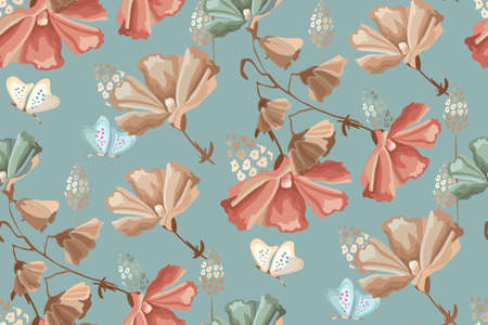 Vector floral seamless pattern. Red, beige, blue flowers and butterflies on a dirty blue background. Retro style.