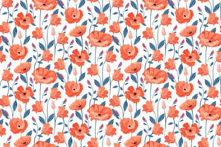 Vector floral seamless pattern. California poppy flowers, Eschscholtzia. Seamless pattern with coral color flowers, blue leaves and stems. Floral elements isolated on white background.
