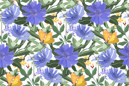 Vector floral seamless pattern. Blue chicory, yellow butterflies, green stems and leaves. Blue and yellow small flowers. Plant elements isolated on a white background.