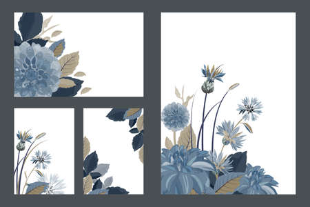 Art floral greeting and business cards. Patterns with blue cornflowers, dahlias, thistles flowers, blue, brown leaves. Vector flowers isolated on a white background.