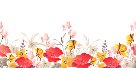 Vector floral seamless border. Red, yellow flowers isolated on a white background. 矢量图像