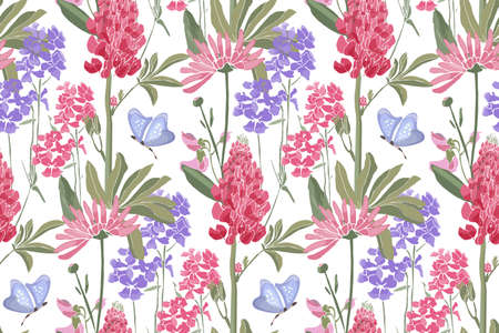 Vector floral seamless pattern. Spring flowers, green leaves, butterflies. Lupine, tufted vetch, bird vetch, calendula, marigold. Pink, purple spring garden flowers isolated on a white background. 矢量图像
