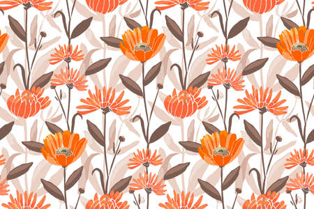 Vector floral seamless pattern. Spring, summer flowers. Orange calendula, marigold, gaillardia flowers, brown leaves. For decorative design of any surfaces.