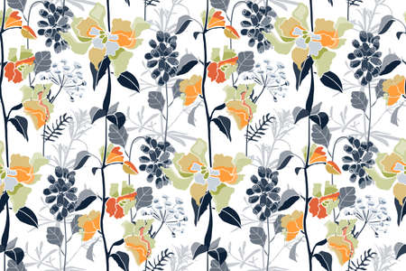 Vector floral seamless pattern. Spring, summer flowers, herbs and berries. For decorative design of any surfaces.