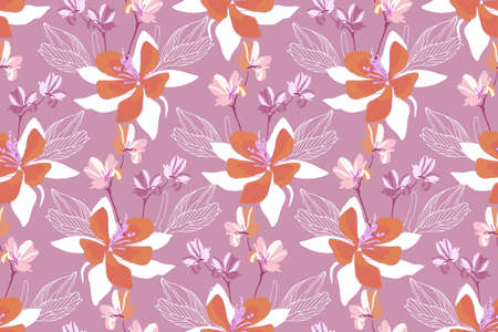 Art floral vector seamless pattern. Vector flowers isolated on a purple background. Tile pattern for wallpaper design, fabric, interior textile, card, template, banner, digital paper.