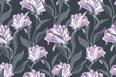 Art floral vector seamless pattern. Delicate purple Ipomoea, morning glory, isolated on a deep gray background. Curly flowers with gray leaves. For fabric, home and kitchen textile, wallpaper design.
