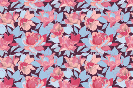 Vector floral seamless pattern. Pink roses and blue leaves isolated on a vinous background. For decorative design of any surfaces.