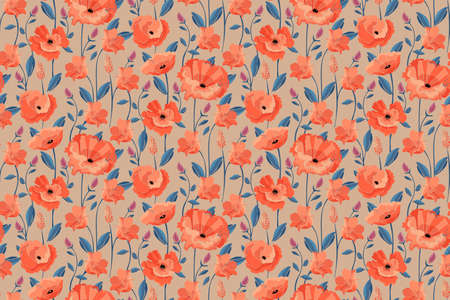 Vector floral seamless pattern. California poppy flowers, Eschscholtzia. Seamless pattern with coral color flowers, blue leaves and stems. Floral elements isolated on a beige background.